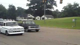 65 gmc pick up smokes 71 chevy pickup drag race