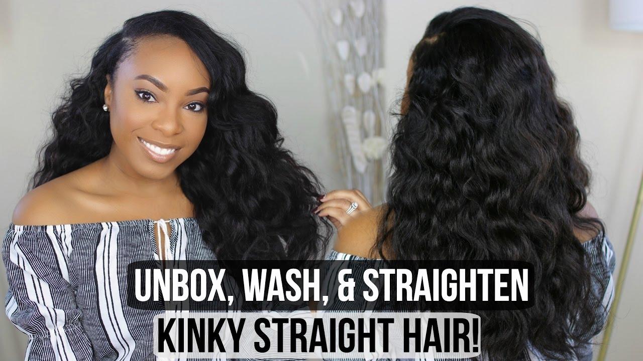 Hair Unbox Wash And Blow Drystraighten Kinky Straight Hair