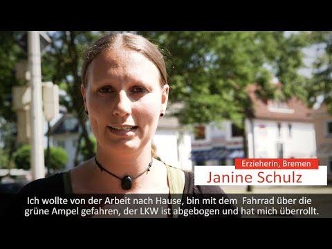 Leben retten im toten Winkel: Über 137.000 fordern Abbiege-Assistenten / Video einer Überlebenden