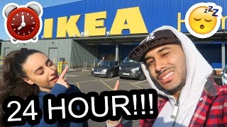 24 HOUR CHALLENGE IN IKEA � OVERNIGHT FORT!! 🚨