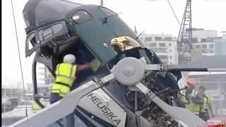 شاهد لحظة سقوط طائرة هليكوبتر بسب خطا من  طيار شي لايصدق