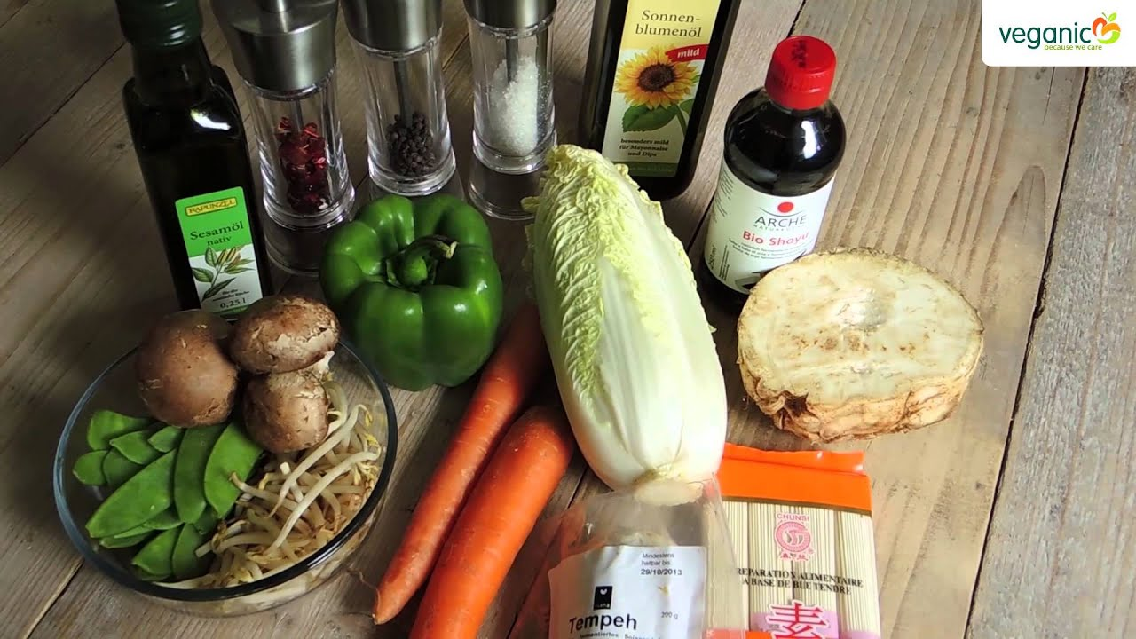 rezept asia salat mit tempeh 100 vegan youtube. Black Bedroom Furniture Sets. Home Design Ideas