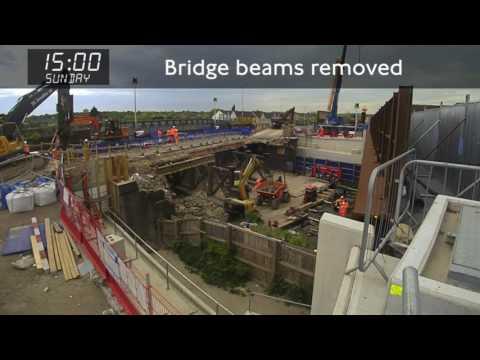 Demolishing A127 Ardleigh Green Road Bridge