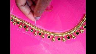 #7 మామూలు సూది తో ఎంబ్రాయిడరీ అందమైన బ్రైడల్ బ్లౌజ్ || Aari|Maggam Work Blouse Design