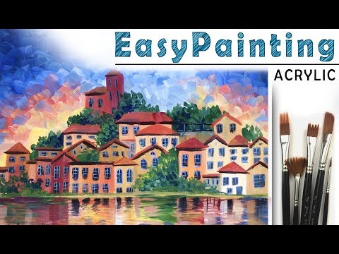 How to paint CITYSCAPE! Paint with Oil or Gouache! Tutorial for Beginners! EASY   如何