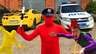 PoliceMan Red Man on Police Car VS Yellow Man & Mr. Joe in Shop w/ Motorcycle for Kids