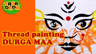 Learn How to draw a DURGA MAA | Kids Drawings | Thread Painting  With Kids |
