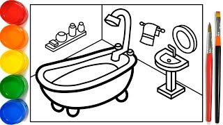 Glitter Bathroom drawing and coloring Pages For Kids | Kamar...