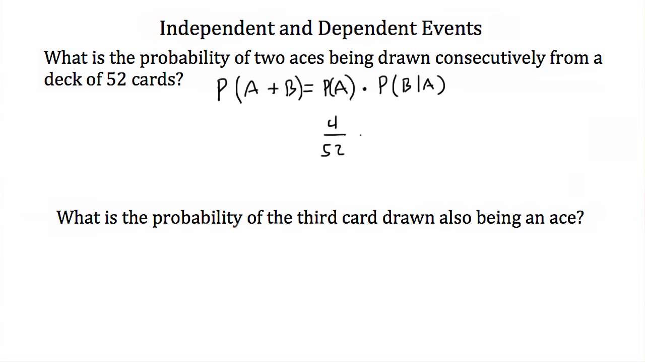 worksheet Independent And Dependent Events Worksheet Answers probability independent and dependent events youtube events