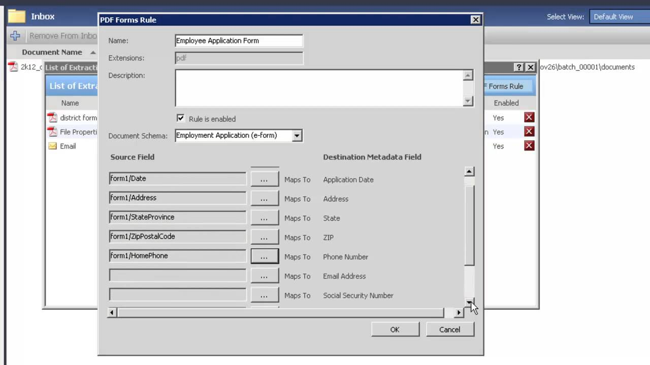PDF Form Extraction Rules in FileHold Document Management Software