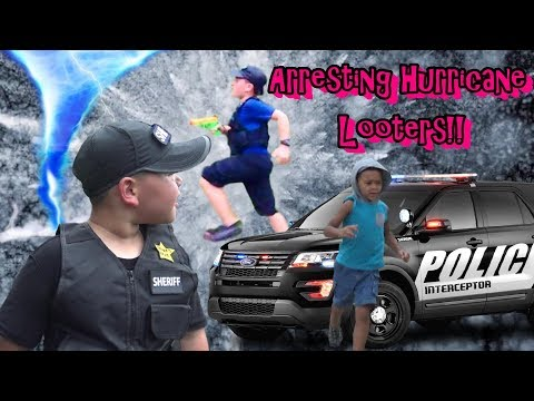 HURRICANE LOOTERS ARRESTED BY POLICE !!!  COPS RESCUE DOGS STUCK IN STORM !!!