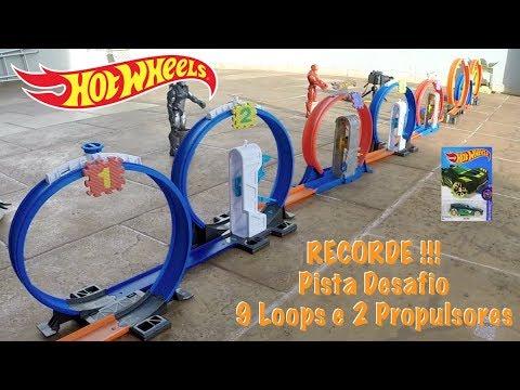 Hot Wheels Pista Desafio Recorde 9 Loops e 2 Propulsores - Carrinhos de Brinquedos #46