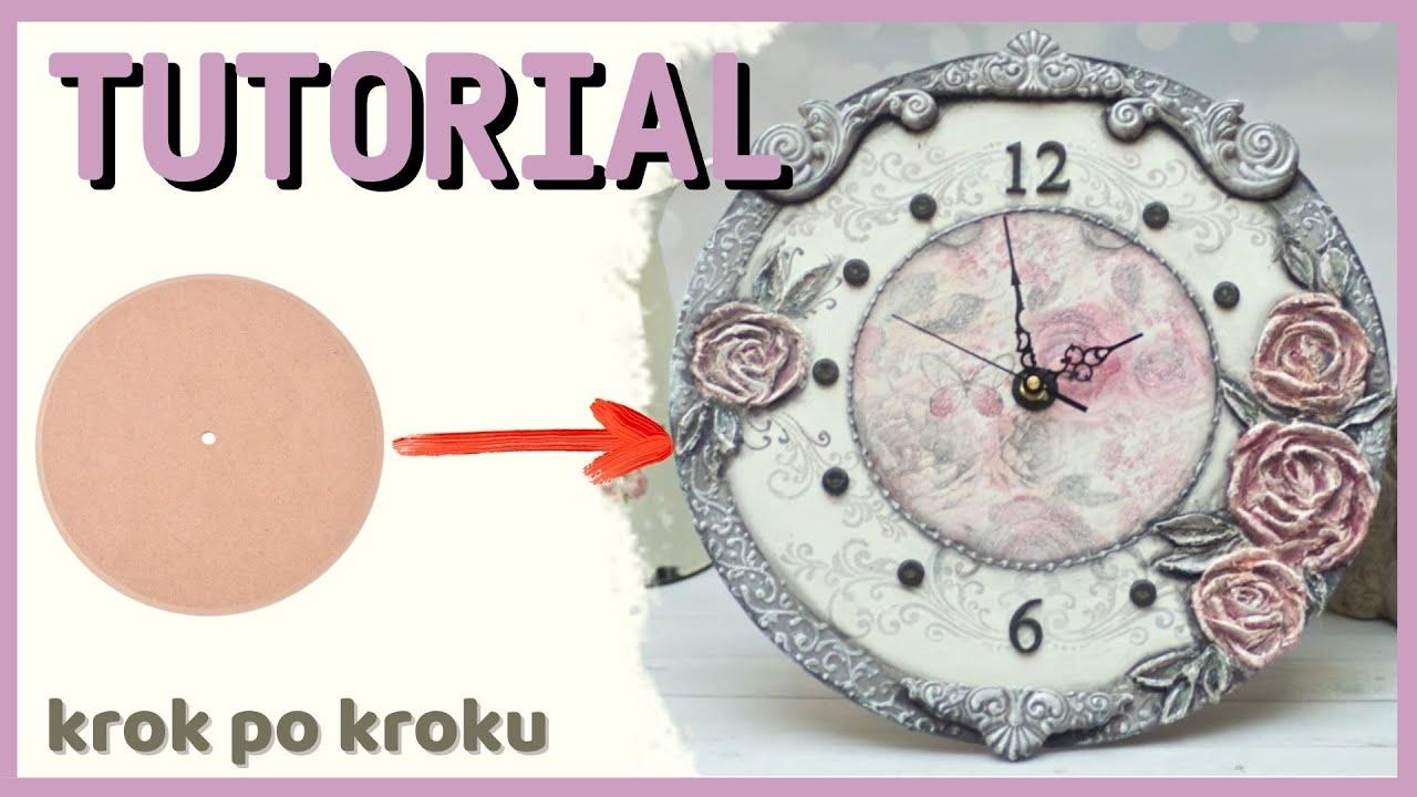 Decoupage , zegar z różami , tutorial DIY