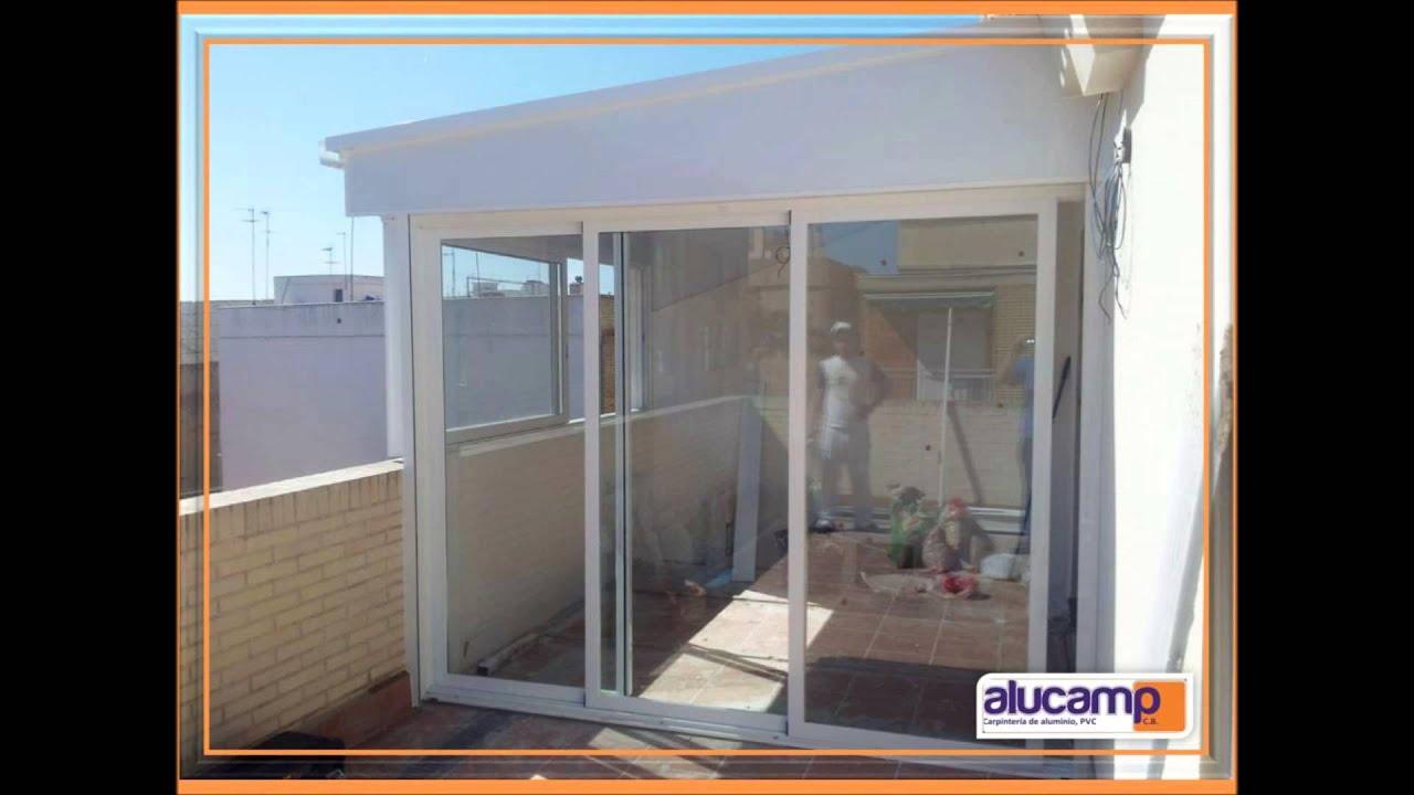 cerramiento terraza formado por ventanas correderas y techo de aluminio youtube