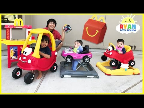 Thumbnail: McDonald's Drive Thru Prank Bad Daddy! Babies Kids Ride On Car + McDonald's Indoor Playground