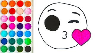 Colorings with Emoji Kiss for Child, Painting Step by Step for Children