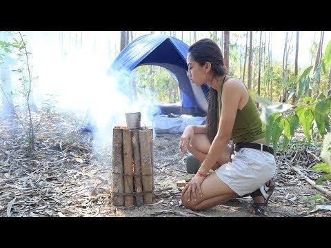 Primitive Technology how to make wooden rocket stove/Khmer Survival Skills