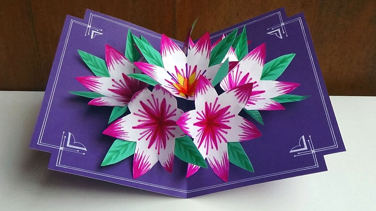Making a 3d flower pop up card easy and simple steps youtube m4hsunfo Image collections