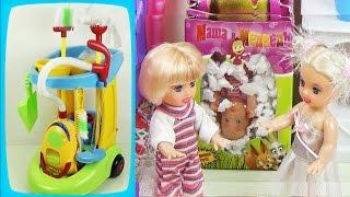 """Детский игровой набор для уборки в тележке. Мультик с куклами """"Пропал малыш"""" / Game set for girls"""