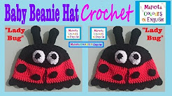 "Beanie Hat for kids crochet Pattern ""Lady Bug"" by Maricita Colours in English"