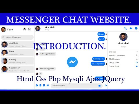 Messenger Chat Website Tutorials Using HTML CSS PHP MYSQLI AJAX JQUERY.