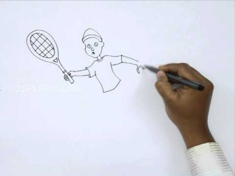 How To Draw A Boy Playing Tennis Youtube