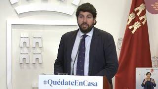 """López Miras pide al Gobierno """"cerrar"""" toda actividad no """"esencial"""""""