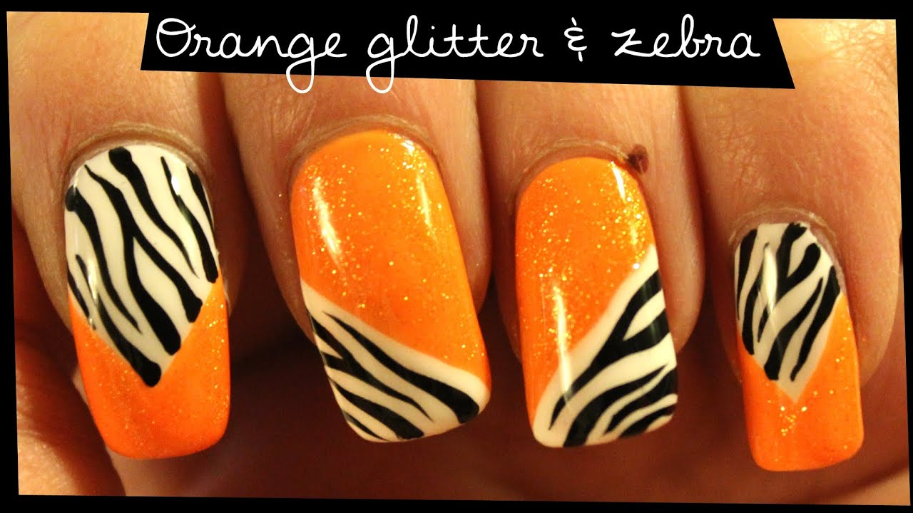 Orange Glitter & Zebra nail art - YouTube