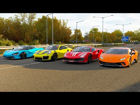 Forza Horizon 4 Drag race: Huracan Performante vs Ferrari 488 Pista vs 911 GT2 RS vs McLaren 720s