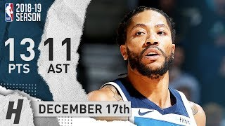 Derrick Rose Full Highlights Timberwolves vs Kings 2018.12.17 - 13 Pts, 11 Ast, 2 Rebounds!
