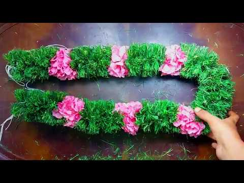 How to string arugampul garland at home | Easy way to tie arugampul and arali flower malai