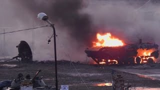 Взрыв  БМП    в Гусеве  Калининградской обл  29.01.2016