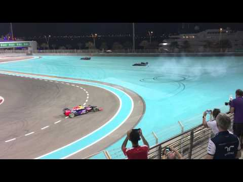 Abu Dhabi Grand Prix 2015 - Post Race Fireworks & Driver Burnouts - South Grandstand