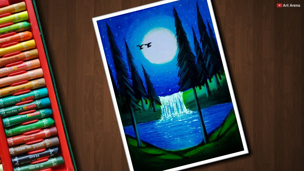 Moonlight Waterfall Scenery Drawing For Beginners With Oil Pastels