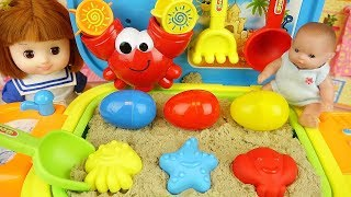 Sand toy and baby doll surprise eggs play baby Doli