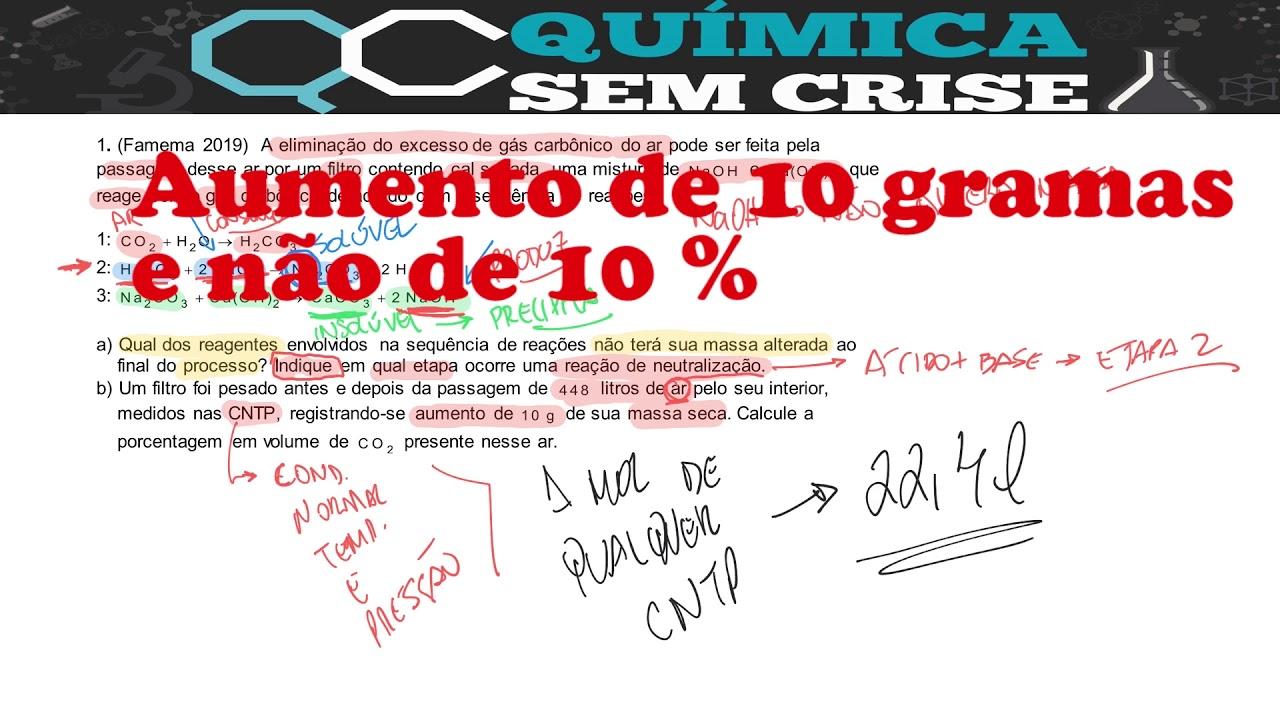RESOLUÇÃO DE EXERCÍCIO DE ESTEQUIOMETRIA (FAMEMA 2019)