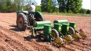 1947 John Deere G Planting Corn With 1240 Planter