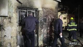 Israeli Firefighters on site after Synagogue Torched in Lod