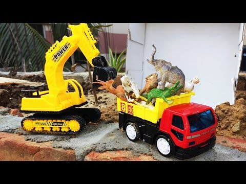 Plays With Forest Animals For Kids At The Zoo | Rescuing Animals With Dump Truck & Excavator