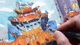 Sketching Taiwan: Ciyou Sea Goddess Temple (timelapse)