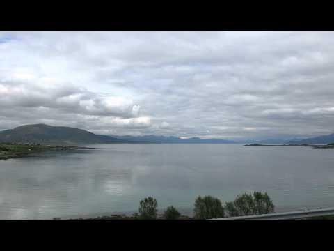Travel Video idyllic fjord scene Vesterålen islands  Norway