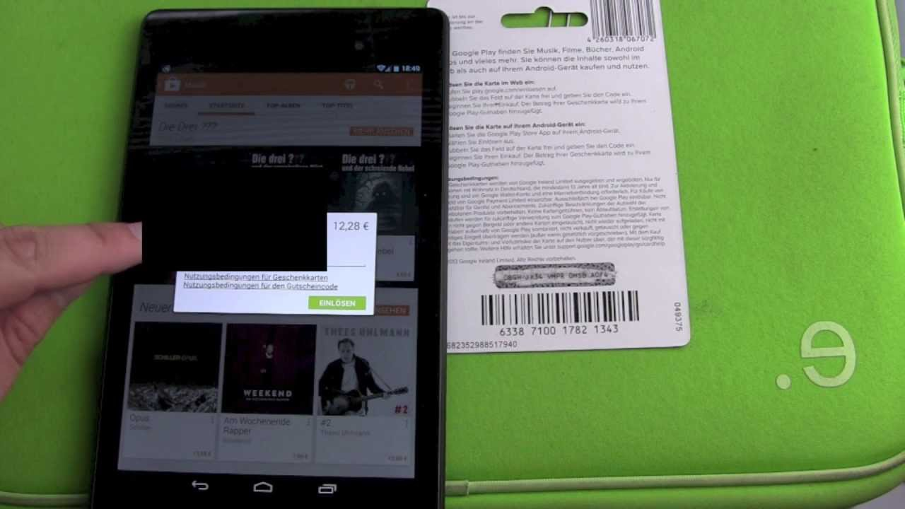 How to redeem a Google Play Store Card in the App - YouTube