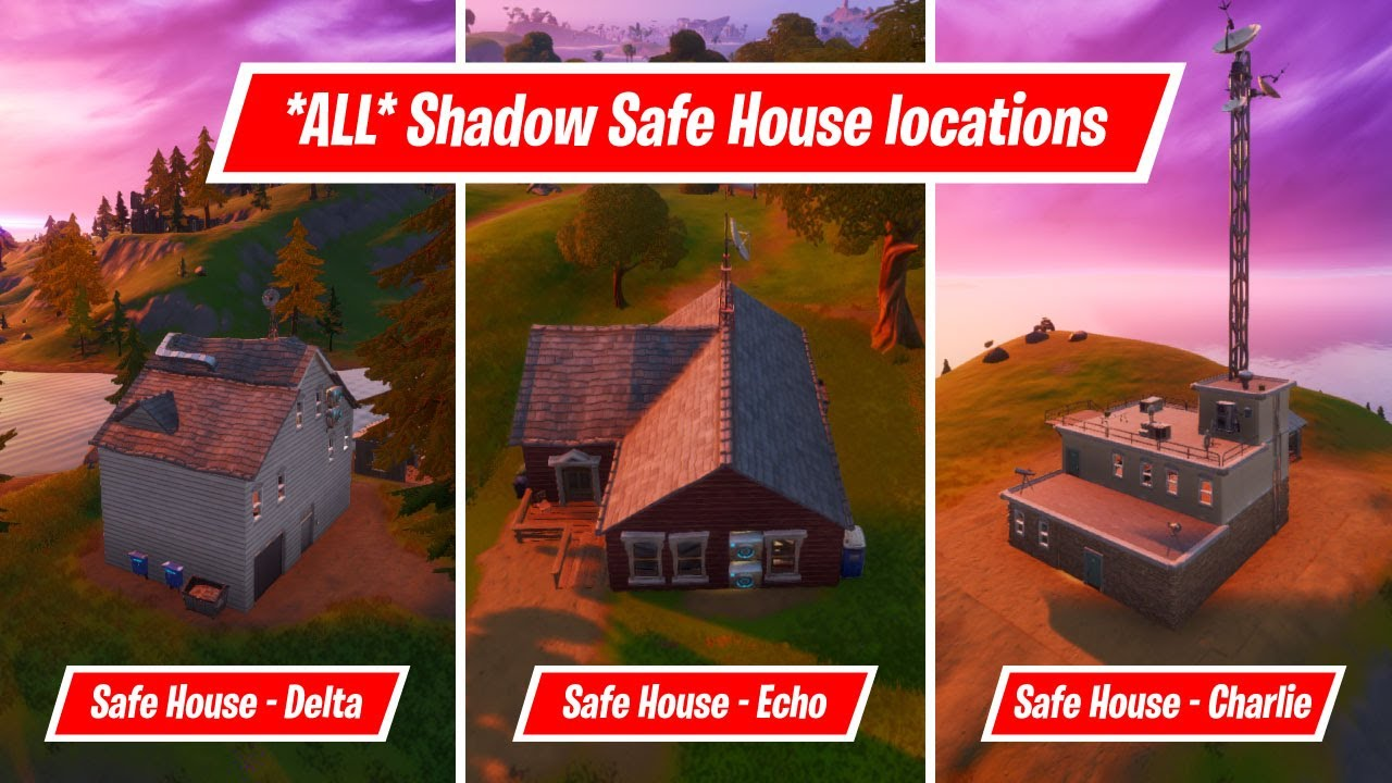 All Different Safe Houses Locations Find Shadow Safe Houses Chapter 2 Season 2 Challenge Youtube