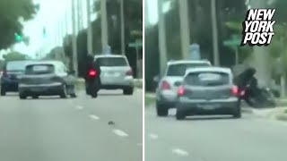 Motorcycle gets creamed during road-rage disaster | New York Post