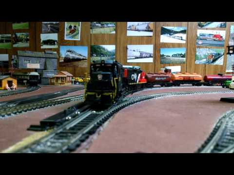 Pennsylvania engine 2206 leading on a freight train on mike's ho scale layout.