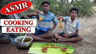 Primitive Culture Cooking and Eating ASMR Chicken Leg Piece || ASMR Eating in India || Wild Food