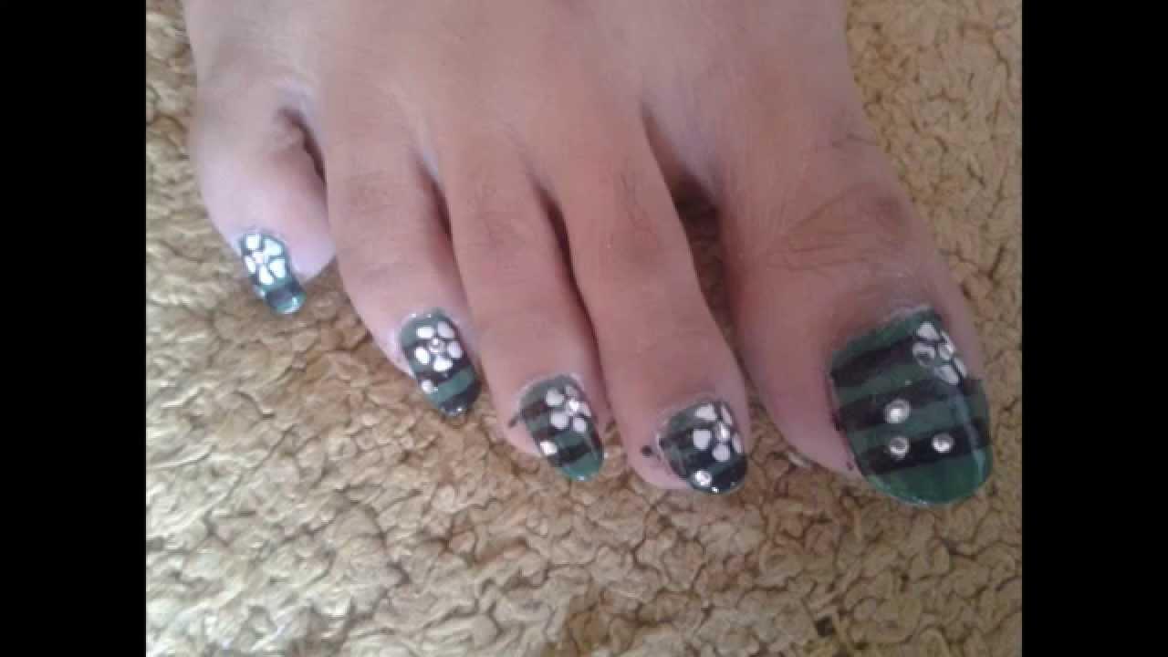 Flower Nail Design With Diamond Black Green Whitewmv Youtube