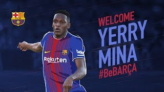 The fans welcome FC Barcelona new player Yerry Mina