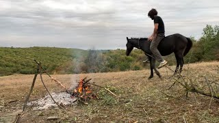 Overnight bushcraft wild camping with a horse.
