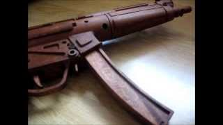 wooden h mp5a3 9mm smg handmade in mahogany